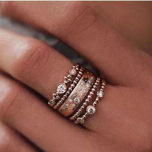 NWT Crystal Rose Gold & 5Pcs/Set Sparkly Rings